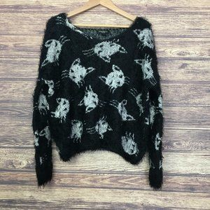 Streetwear Society Fuzzy Knit Cat Sweater Black